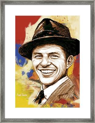 Frank Sinatra - Stylised Pop Art Drawing Portrait Poster  Framed Print by Kim Wang