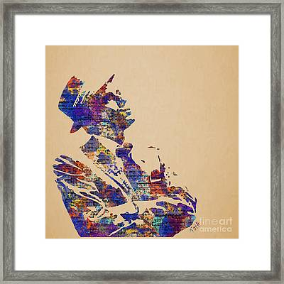 Frank Sinatra Watercolor Framed Print