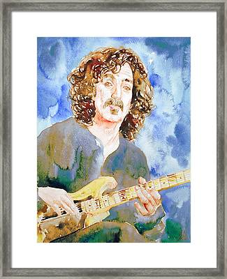 Frank Zappa Playing The Guitar Watercolor Portrait Framed Print by Fabrizio Cassetta