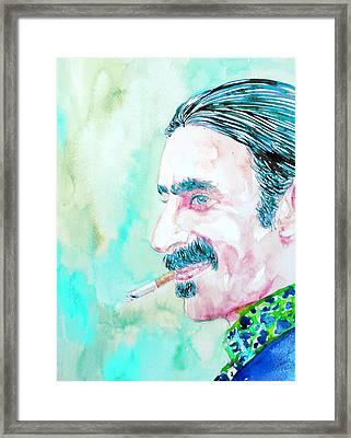 Frank Zappa Smoking A Cigarette Watercolor Portrait Framed Print by Fabrizio Cassetta