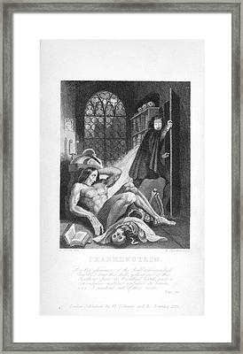 Frankenstein And His Creature Framed Print