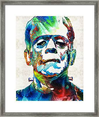 Frankenstein Art - Colorful Monster - By Sharon Cummings Framed Print by Sharon Cummings