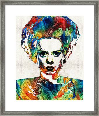Frankenstein Bride Art - Colorful Monster Bride - By Sharon Cummings Framed Print by Sharon Cummings