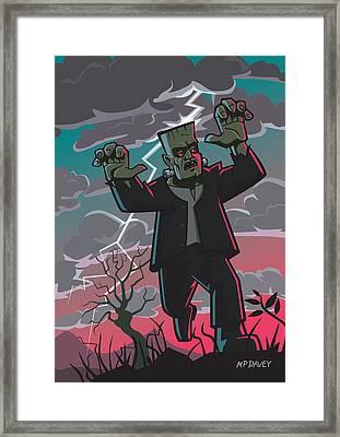 Frankenstein Creature In Storm  Framed Print by Martin Davey