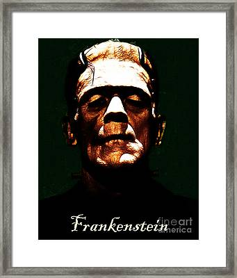 Frankenstein - Dark - With Text Framed Print by Wingsdomain Art and Photography