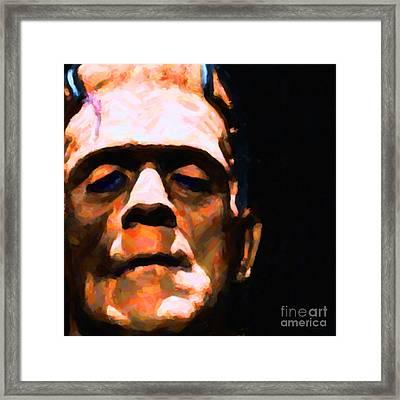 Frankenstein Painterly Black Square Framed Print