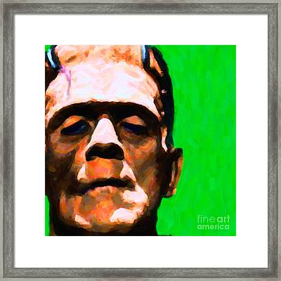 Frankenstein Painterly Green Square Framed Print by Wingsdomain Art and Photography