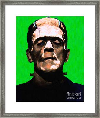 Frankenstein - Painterly - Green Framed Print by Wingsdomain Art and Photography