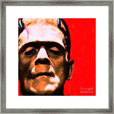 Frankenstein Painterly Red Square Framed Print