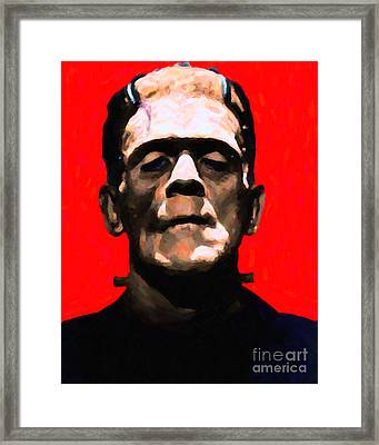 Frankenstein - Painterly - Red Framed Print by Wingsdomain Art and Photography