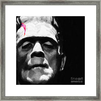 Frankenstein Painterly Square Black And White Framed Print by Wingsdomain Art and Photography