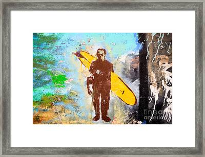 Frankenstein Surf Graffiti Framed Print by Amy Fearn