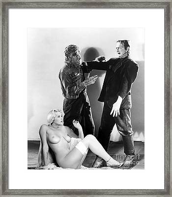 Frankenstein Werewolf Fantasy Nude Framed Print by Jorge Fernandez