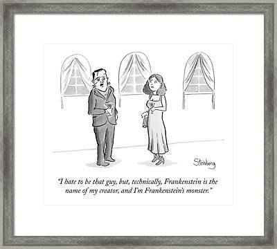 Frankenstein's Monster Speaks To A Woman Framed Print