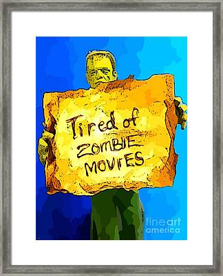 Frankenstein's Monster Turns Activist Framed Print by John Malone