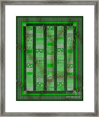 Frankensteins Quilt - Coin Quilt - Quilt Painting - Monster Green Patches Framed Print by Barbara Griffin