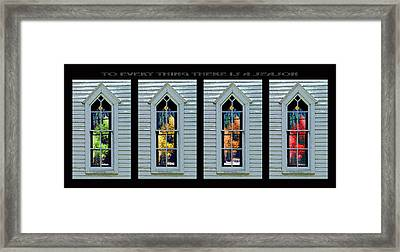 Frankford Church Window In Four Seasons Framed Print