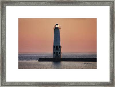 Framed Print featuring the photograph Frankfort Lighthouse II by Joan Bertucci