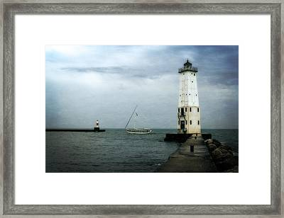 Frankfort Lighthouse With Sailboat Framed Print by Michelle Calkins