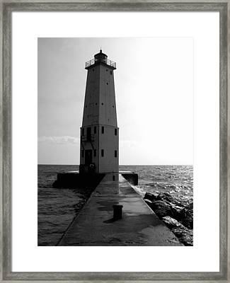 Frankfort Michigan Lighthouse Ll Framed Print by Michelle Calkins