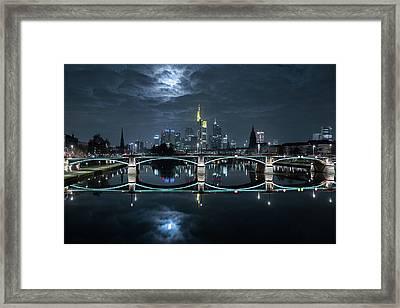 Frankfurt At Full Moon Framed Print