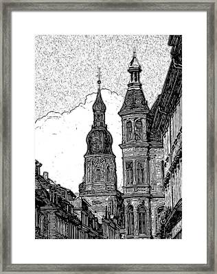 Frankfurt Clock Tower - Black And White Framed Print by Paul Gioacchini