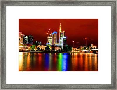 Frankfurt Red Skyline Framed Print