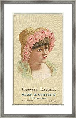 Frankie Kemble, From Worlds Beauties Framed Print by Allen & Ginter