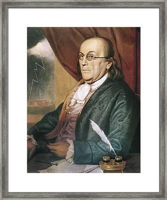 Franklin, Benjamin 1709-1790. Oil Framed Print by Everett