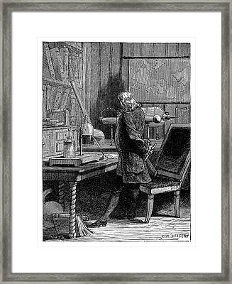 Franklin In His Laboratory Framed Print