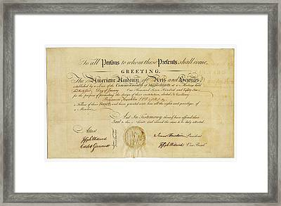 Franklin Membership Certificate Framed Print by American Philosophical Society