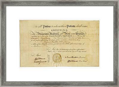 Franklin Membership Certificate Framed Print