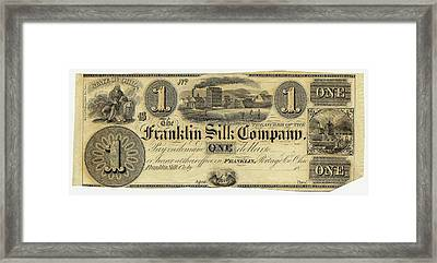 Franklin Silk Company Bank Note Framed Print by American Philosophical Society