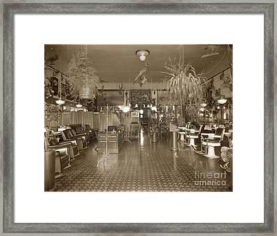 Franklin Varien Museum Barber Shop And Billiard Hall On Forest Ave. 1910 Framed Print