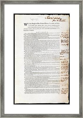 Franklin's Copy Of The Us Constitution Framed Print