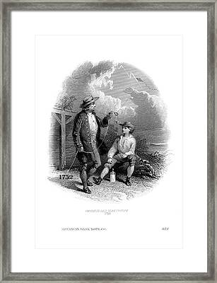 Franklin's Kite Experiment Framed Print by American Philosophical Society