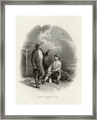 Franklin's Lightning Experiment Framed Print