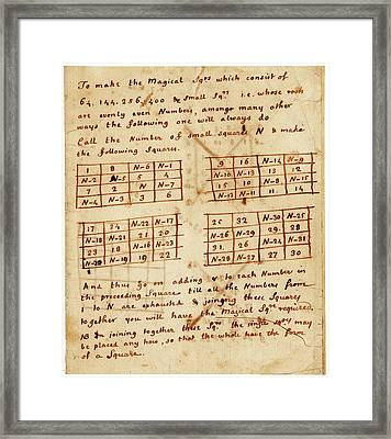 Franklin's Magic Squares Framed Print by American Philosophical Society