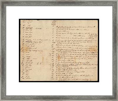 Franklin's Scheme For A New Alphabet Framed Print by American Philosophical Society