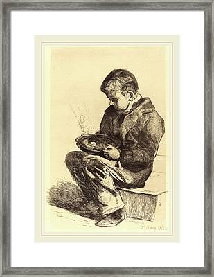 François Bonvin French, 1817-1887, Boy Eating Soup Enfant Framed Print