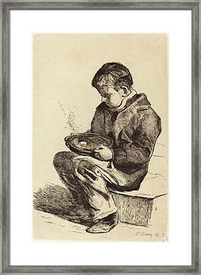 François Bonvin French, 1817 - 1887, Boy Eating Soup Framed Print