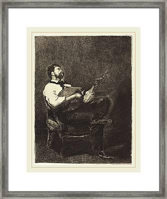 François Bonvin French, 1817-1887, Guitar Player Joueur De Framed Print by Litz Collection