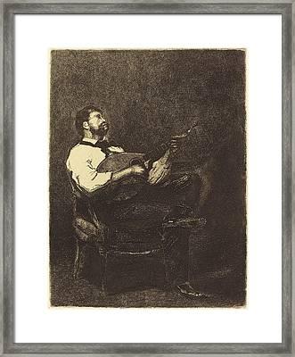 François Bonvin French, 1817 - 1887, Guitar Player Joueur Framed Print by Quint Lox