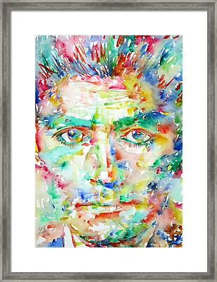 Franz Kafka Watercolor Portrait Framed Print by Fabrizio Cassetta