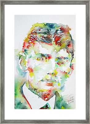 Franz Kafka Watercolor Portrait.2 Framed Print by Fabrizio Cassetta