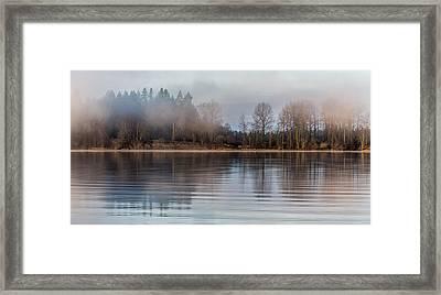Fraser River Misty Morning Framed Print