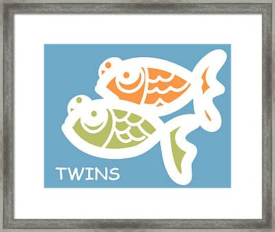 Fraternal Twins - Baby Room Art Framed Print by Nursery Art