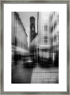Frauenkirche - Muenchen V - Bw Framed Print by Hannes Cmarits