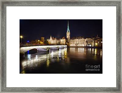 Fraumunster Abbey Night Scenic Framed Print by George Oze
