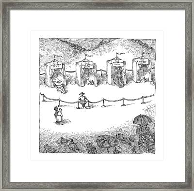 Freak Show Of Average Beach-goers Framed Print by John O'Brien